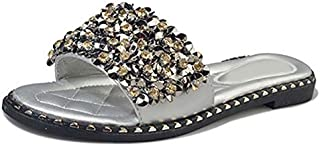 Exquisite Women Casual Summer Flat Beach Slippers Female Crystal Rivets Slides Slipper Shoes for Girls Fashion Woman Leisure Footwear (Color : Silver, Shoe Size : 5)