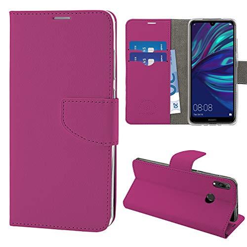 N NEWTOP Cover Compatibile per Samsung Galaxy Y7 2019, HQ Lateral Custodia Libro Flip Chiusura Magnetica Portafoglio Simil Pelle Stand (Fucsia)