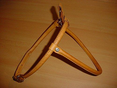 Milan Hundegeschirr aus echtem Leder, rundgenäht, 75cm, beige