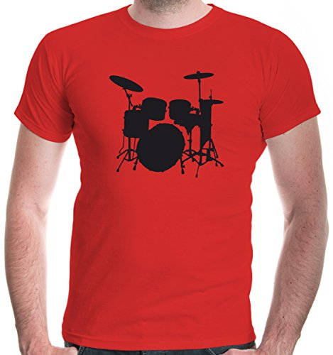 buXsbaum Herren T-Shirt Schlagzeug | Schlagzeuger Drums Trommler Musik Instrument | XL, Rot