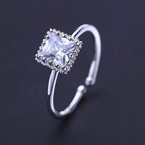 Lozse S925 Sterling zilver ingelegd zirkoon vrouwelijke mode eenvoudige quad ring-Het kan worden verstelbaar