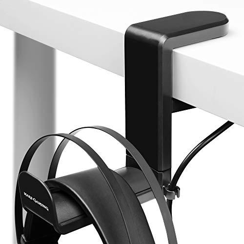 Mars Gaming MHH, Soporte de Auriculares Tipo Pinza, Ajustable, Rotación 360º