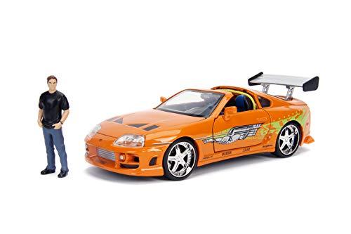 Jada - 30738 - Modelo Coche Rápido y Furioso DieCast Toyota Supra con Figura de Brian Fast and Furious - Naranja - Escala 1/24 20cm