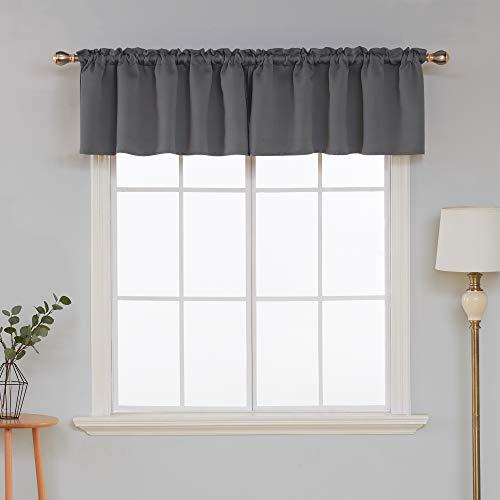 Deconovo Window Curtain Valances for Kitchen Valance Light Blocking Blackout Curtain Valances 42x18 Inch Dark Grey 1 Panel