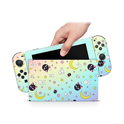 ZOOMHITSKINS Pink Star Moon Rainbow Ombre Cats Anime Runa Neko Kawaii Luna High Quality 3M Vinyl Decal Sticker Wrap, Bubble-free Install, Goo-free Removal, Nintendo Switch Compatible, Made in the USA
