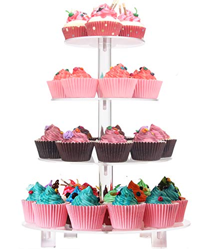 LoveDisplay 5 Tiers Square Acrylic Cupcake Stands - Clear Pastry Display Stand - Cupcake Stands with LED String Lights Dessert Tree Tower for Wedding Party