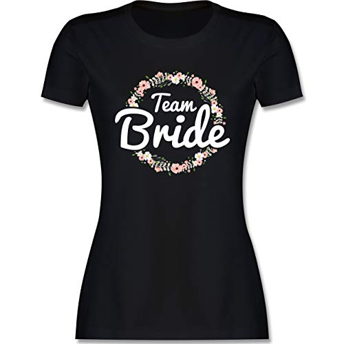 JGA Junggesellenabschied Frauen - Team Bride Blumenkranz - XL - Schwarz - jungesellenabschied Frau Tshirt - L191 - Tailliertes Tshirt für Damen und Frauen T-Shirt