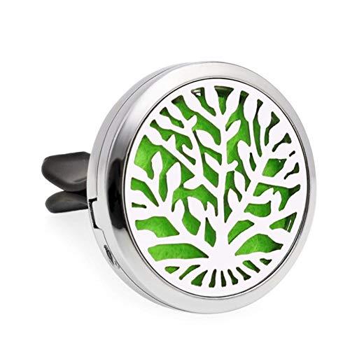 Auto Aromatherapie Ätherisches Öl Diffusor Entlüftungsclip 2PCS Autodiffusor Belüftungsclip Mit Diffusor Für Ätherische Öle Für Aromatherapie Aus Edelstahl- (Blume, Baum Des Lebens)