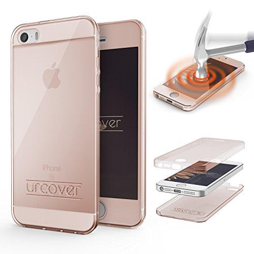 Urcover Custodia Apple iPhone 5 / 5s / SE 1.Gen (2016), Protezione 360 Grad Completa, Fronte Retro Cover Silicone Trasparente, Full Body Case Ultra Sottile, Apple iPhone 5 / 5s / SE - Rosa