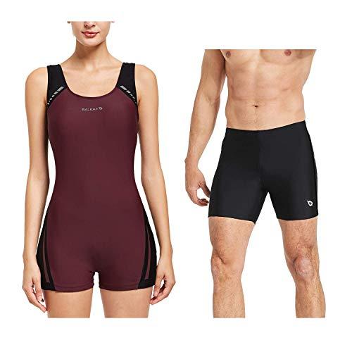 BALEAF Women Men Couple Athletic Swimsuits Matching Swim Trunk 2 Pack