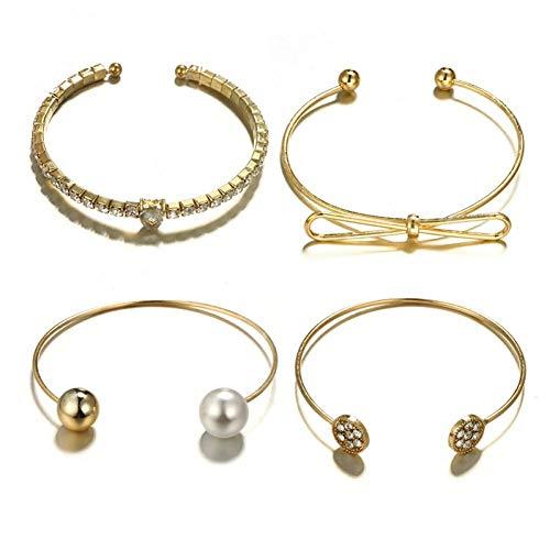 KUIAHIO Or Pearl Ball Bowknot Bracelet Ensemble pour Les Femmes Cristal Ouvert Réglable Bracelet Bracelets Déclaration Bijoux 4 Pcs / 1 Set