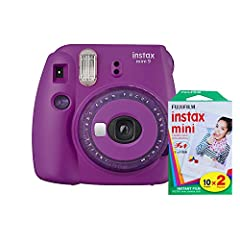 Accepts Fujifilm Instax instant film, produces credit card-sized prints Fujinon 60mm f/12.7 lens, optical Viewfinder with target spot Selfie mirror integrated on lens, built-in flash and auto exposure mode