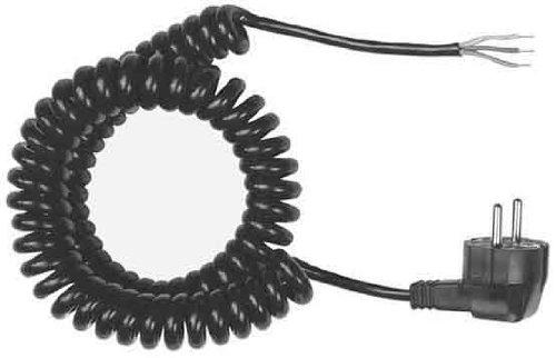 Bachmann 663.170 - Cable de conexión en espiral con enchufe Schuko (3G1,50, 500 a 2000 mm), color negro