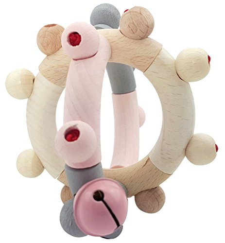 Hess Spielzeug Hochet en bois Boule hochet bébé, rose