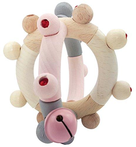 Hess 11107 - Holzspielzeug, Motorikrassel Kugel aus Holz, nature rosa