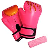 3 otters Kids Boxing Gloves for Girls, 4.9OZ Pink Boxing Gloves Punching Bag Muay Thai Mitts Kick Boxing Training Gloves for Toddler