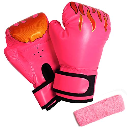 3 otters Kids Boxing Gloves, 4.9OZ Youth Boxing Gloves Sparring Children's Gloves Punching Bag Muay Thai Mitts Kickboxing Training Gloves for Toddler Pink