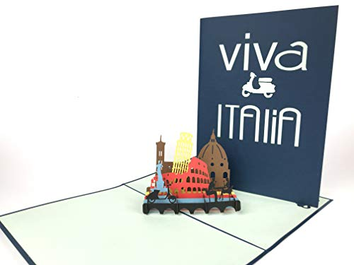 Viva Italia Pop Up Grußkarte Anniversary Baby Happy Geburtstag Ostern Mutter Thank You Valentine 's Day Hochzeit Kirigami Papier Craft Postkarten