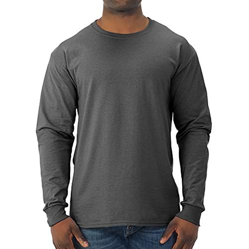 Jerzees Men's Adult Long Sleeve tee X Sizes, Black Heather, 2X
