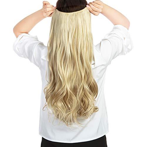 Dodoing Extensions de cheveux synthétiques à clipser en forme de V pour cheveux 3/4 épais bouclés ondulés et lisses avec 4 clips