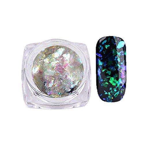 Style Caméléon Produits pour Décoration des Ongles, Sunenjoy Manucure Chrome Pigment Glitters Transparent Born Pretty, Paillettes pour Manucure