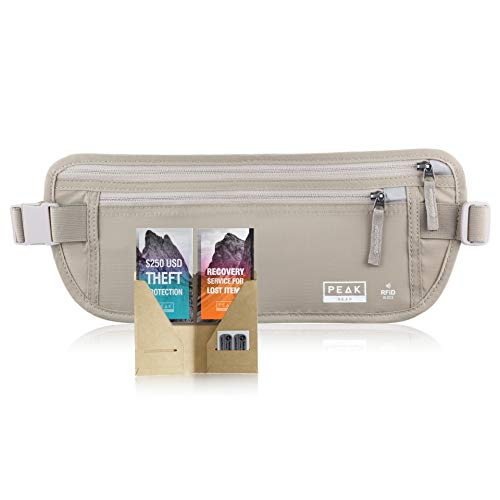 Travel Money Belt with RFID Block - Theft Protection and Global Recovery Tags (Beige-REG)