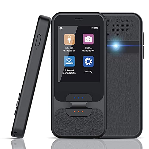 Rinkmo Translator Device, Portable Language Translation Device with Camera WiFi/Hotspot Smart Voice Two Way Translator with 2.4 Inch Touch Screen Support 92 Languages(Black)