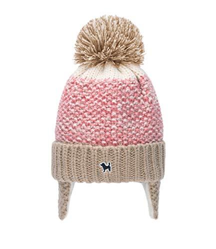 HorBous Bonnet a Pompon Tricote pour Enfant Fille et Garcon Hiver Bebe 1-5 ans Bebe Bonnet Pompons Bonnet de Laine Enfant Fille (rose)