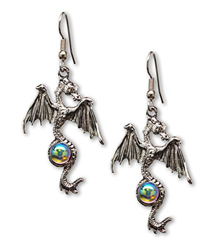 Gothic Dragon Dangle Earrings Silver Finish Pewter Mystical Jewelry