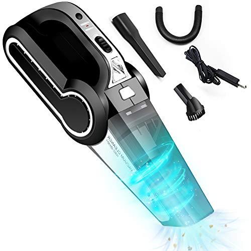 TXG Aspirador de Mano Sin Cable,120W Aspirador Portátil de Mojado y Seca, con Filtro de Acero Inoxidable,poco Ruido, Para Taller, Hogar, Automóvil o Sala de Mascotas