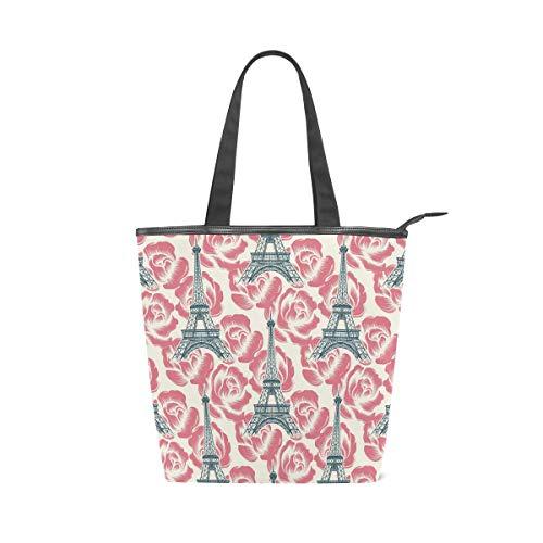 Rootti Romantische Eiffelturm-Tragetaschen, Segeltuch-Schulter-Handtasche für Damen und Mädchen, wiederverwendbar, für Arbeit, Reisen, Einkaufen, Handtasche mit Griff