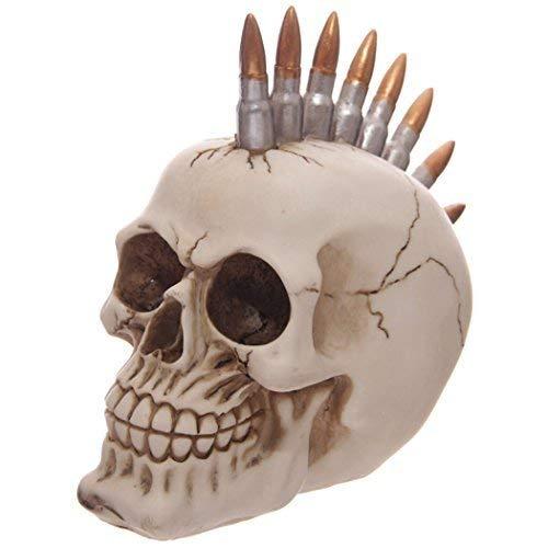 Totenkopf Deko #50250 mit Patronen Mohikaner Frisur, Skull Schädel Deko