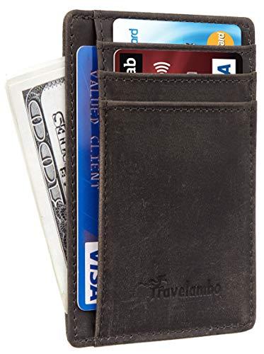 Travelambo Front Pocket Minimalist Leather Slim Wallet RFID Blocking Medium Size(CH Grey Deep P)