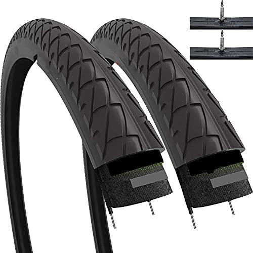 Establezca un par 26 x 1.95 pulgadas 53-559 neumáticos resbaladizos con tubos interiores y protección contra la antiptronteca de 2.5 mm para la bicicleta de bicicleta híbrida de Monte Mountain MTB de