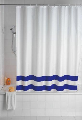 WENKO 20581100 Duschvorhang Tropic Dark Blue - waschbar, mit 12 Duschvorhangringen, Kunststoff - Polyester, Weiß