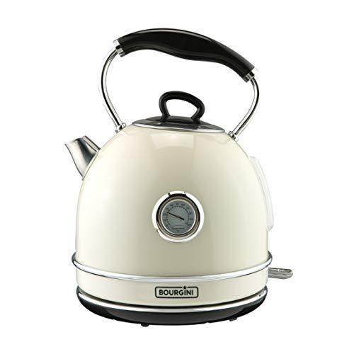Bourgini Nostalgic Thermo Wasserkocher Black - Wasserkocher - Retro - Temperaturanzeige - 1.7L - Cremefarbe