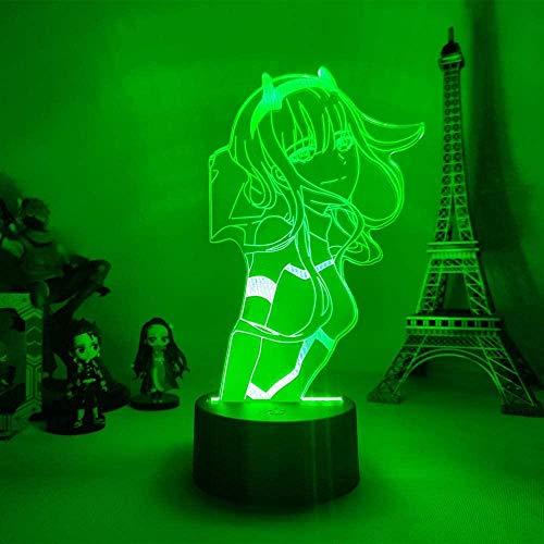 3D ilusión nocturna null dos figuras cama lámpara de mesa dormitorio decoración Anime Waifu regalo favorito en Franxx Zero dos niños vacaciones de cumpleaños regalos