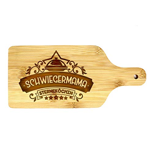 Großes Brett 26,5x12x1cm - Holzschneidebrett - Bambusschneidebrett - Beschriftungsschneidebrett - Fleisch-, Käse- & Gemüseschneidebrett (SCHWIEGERMAMA)