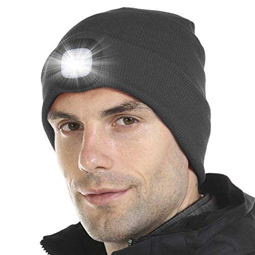 Tutuko Unisex LED Lighted Beanie Cap, USB Rechargeable Hands Free 4 LED Headlamp Cap, Warm Winter Knitted Hat with LED Flashlight for Hiking, Biking, Camping (Dark Grey)