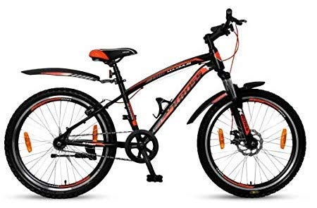 KROSS Men's Boy's Maximus Pro 24T Fat Tyre Bike Single Speed with Front Disc Brake Bicycle Black Cycle 14'' Steel Frame Age 9-13...