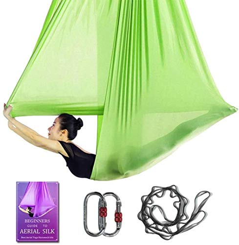 Aerial Yoga Hammock L:5M W:2.8M Aerial Pilates Silk Yoga Swing Set with 2000 Ibs Load Include Daisy Chain, Pose Guide