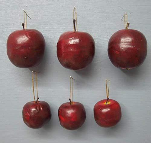 ecosoul Äpfel Apfel 12-er Set 0,41,-/Stück mit Goldener Schlaufe zum Aufhängen 4,5cm Höhe Dekoration Weihnachtsbaum Kranz Herbst Advent