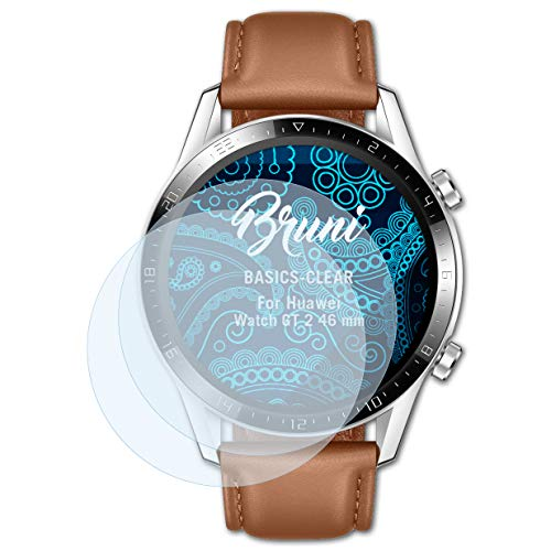 Bruni Schutzfolie kompatibel mit Huawei Watch GT 2 46 mm Folie, glasklare Displayschutzfolie (2X)