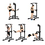 SogesPower Dip Station & Pull Up Power Tower Dip Stands Multi-Function Home Strength Training Fitness Workout Station,Height Adjustable SP-PSBB005