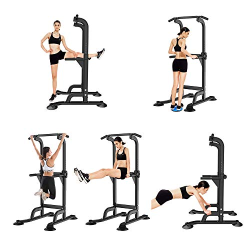 Soges Power Tower Adjustable Height Pull Up and Dip Station Multi-Function Home Strength Training Fitness Workout Station, PSBB005