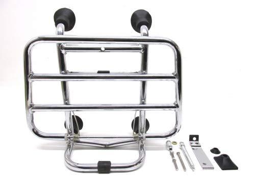 Chrom Gepäckträger Vorne klappbar für Vespa Piaggio Primavera & Sprint 50 125 150 (ab 2013)