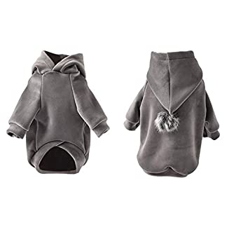 BinetGo Dog Hoodies Pet Clothes Dog Sweatshirts Pullover Cat Jackets for Doggie Clothes Cotton with Pom Pom Ball (XL, Grey) 6