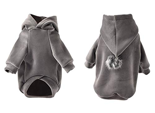 BinetGo Dog Hoodies Pet Clothes Dog Sweatshirts Pullover Cat Jackets for Doggie Clothes Cotton with Pom Pom Ball (M, Grey)