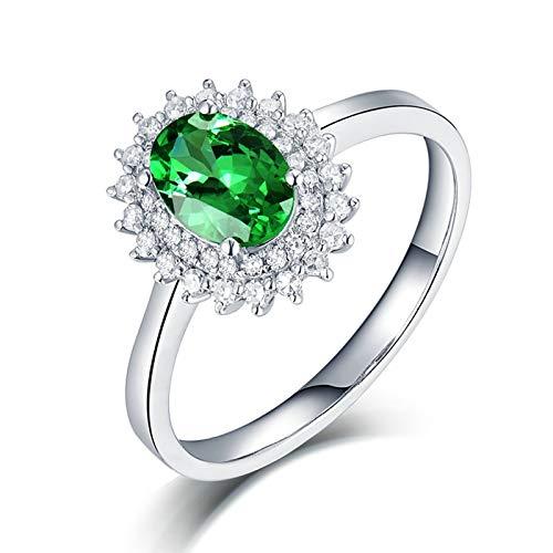 AnazoZ Anillo Tsavorita MujerAnillos Oro Blanco 18K Mujer Plata Verde Flor con Oval Tsavorita Verde 0.76ct Diamante 0.25ct Talla 13,5