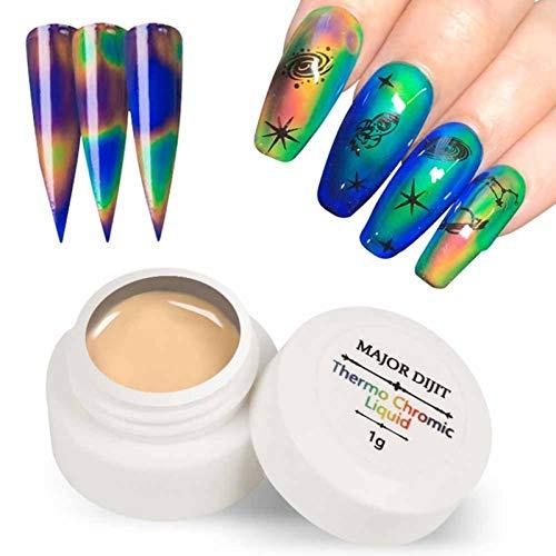 Yoouo Thermochromic Liquid Temperature Color Change Gel Nagellack Chamäleon Gellack, Thermo Nagellack UV, Nail Art Gel Lack UV Gelnägel Gellack 1g